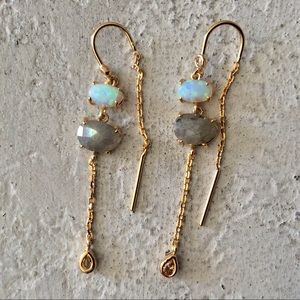 12k Gold Kai Drop Earrings Natural Stones NEW